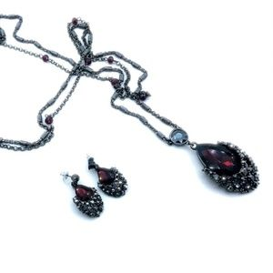 WHBM Long Double Strand Necklace and Earring Set